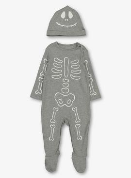 Halloween Grey Glow In The Dark Skeleton Sleepsuit Set