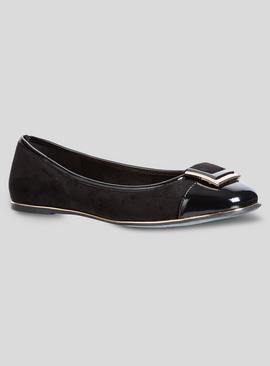 Black Patent & Gold Trim Square Toe Ballerina Shoe