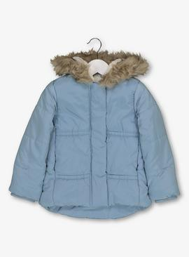 Online Exclusive Blue Padded Coat With Hood