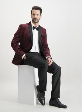 Dark Red Velvet Slim Fit Tuxedo Jacket