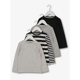 Monochrome Stripe & Plain T-Shirts 4 Pack