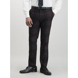 Burgundy & Black Plaid Slim Fit Suit Trousers