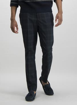 Dark Green Tartan Slim Fit Trousers With Stretch