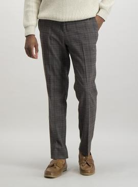 Brown Multi-Check Slim Fit Trousers With Stretch
