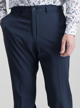 Navy Grid Tailored Fit Trousers With Stretch