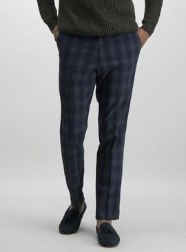 Navy Tartan Check Slim Fit Trousers With Stretch