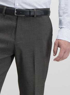 Brown Textured Tailored Fit Trousers With Stretch