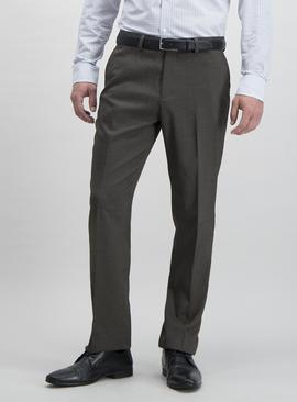 Brown Textured Tailored Fit Trousers