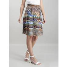 Multicoloured Chevron Print Belted Skirt