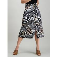 Multicoloured Abstract Zebra Print Midi Skirt