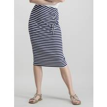 Navy & White Nautical Stripe Ruched Pencil Skirt