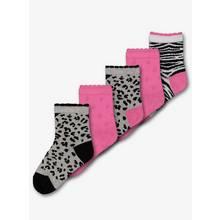 Grey & Pink Leopard Print Socks 5 Pack (3 Infant - 5.5 Adult