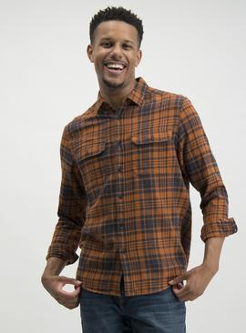 Orange Check Regular Fit Long Sleeve Shirt