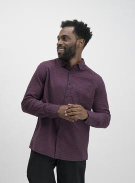 Burgundy Micro Check Regular Fit Shirt
