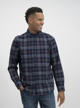 Navy & Red Check Regular Fit Shirt