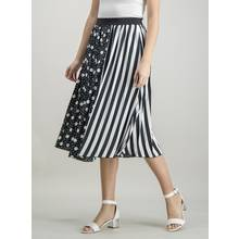 Monochrome Pleated Spot & Stripe Print Midi Skirt