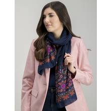 Blue Floral Print Scarf - One Size