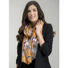 Ochre Yellow Floral Print Woven Scarf - One Size