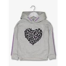 Grey Leopard Heart Hoodie