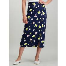 Navy Floral Button Detail Woven Midi Skirt