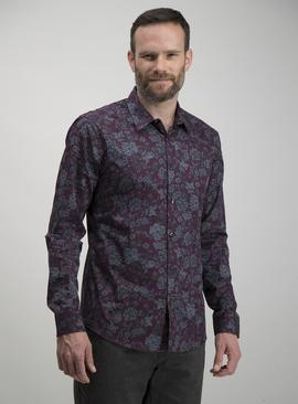Burgundy & Grey Floral Print Slim Fit Shirt