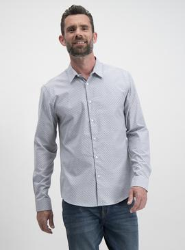 Grey Geometric Print Slim Fit Long Sleeve Shirt