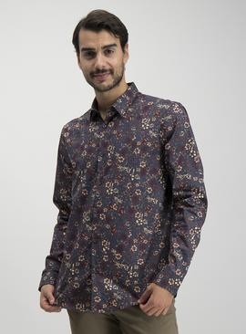 Navy Floral Print Regular Fit Shirt