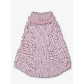 Pink Roll Neck Fur Trim Poncho - One Size