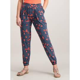 c0fd3e644 Navy Stripe & Red Floral Print Drapey Jersey Trousers