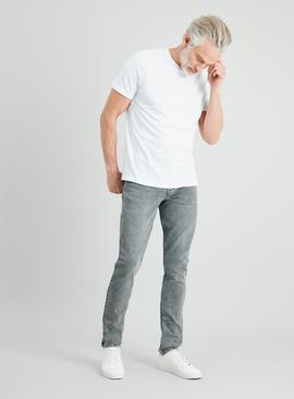 Light Grey Textured Wash Skinny Denim Jeans With Stretch