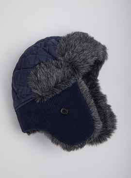 Navy Quilted & Corduroy Trapper Hat