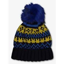 Navy & Ochre Fair Isle Knitted Beanie Hat