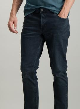 Black With Blue Tint Denim Skinny Fit Jeans With Stretch
