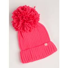 Fluro Pink Beanie Hat With Pom-Pom