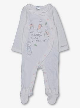 Peter Rabbit Cream & Pink Frill Sleepsuit