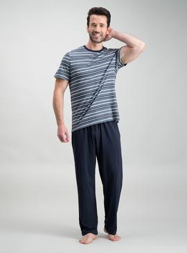Navy Marl Stripe Pyjamas