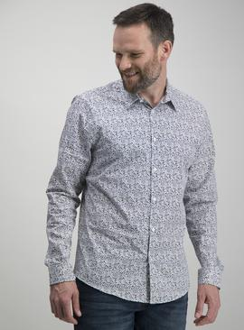 White Ditsy Floral Print Regular Fit Shirt