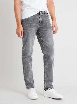 Grey Wash Slim Jeans With Stretch