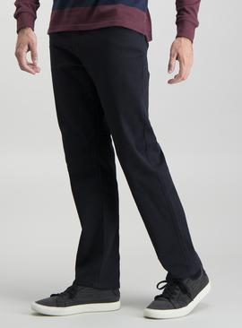 Dark Navy Twill Straight Leg Jeans With Stretch