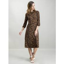 Black & Brown Tiger Print Jersey Midi Dress