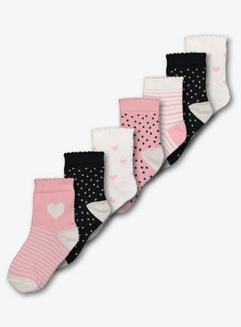 Multicoloured Blush Heart Ankle Socks 7 Pack