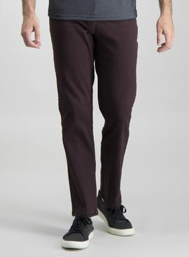 Aubergine Twill Straight Leg Jeans With Stretch