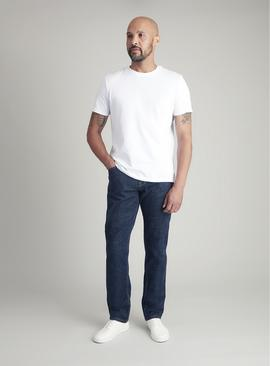 Dark Blue Denim Tapered Fit Jeans With Stretch