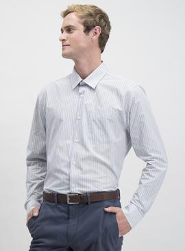 Grey Stripe & Plain Easy Iron Regular Fit Shirt 2 Pack