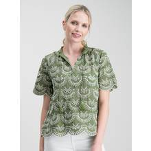Khaki Green Schiffli Lace Top