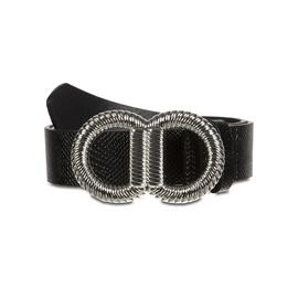Black Crocodile Print Circle Buckle Belt