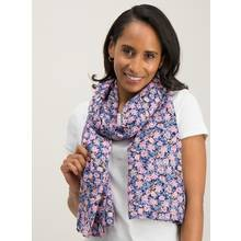 Blue Floral Print Woven Scarf - One Size