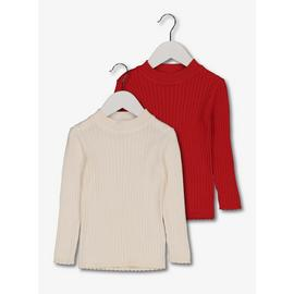 Cream & Red Ribbed Jumper 2 Pack