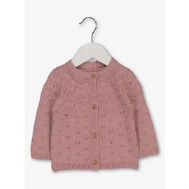 Pink Cotton Yoke Detail Pointelle Cardigan