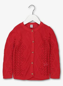 Red Cable Knit Cardigan